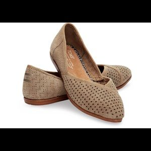 TOMS Taupe Suede Perforated Women's Jutti Flats